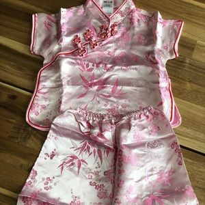 Other - NIP Adorable Pink Silk Asian Outfit Size 1